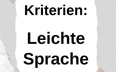 Kriterien Leichter Sprache